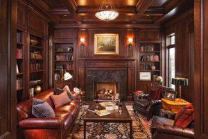 стая с дървесен декор